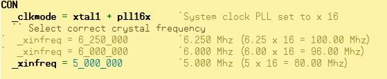 Configure Propeller System Clock Frequency